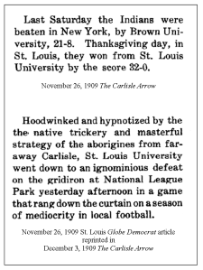 1909-11-26 Carlisle Arrow St Louis game