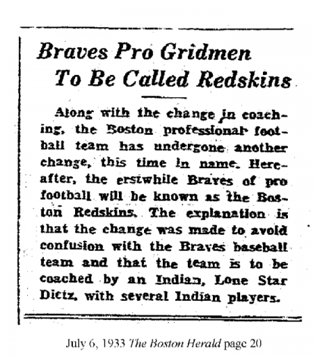 1933-07-06 Redskins renamed